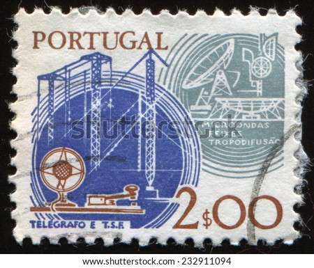 PORTUGAL - CIRCA 1978: a stamp printed in the Portugal shows Telegraph and Satellite, Communications, Work Tools, Old and New technologies, circa 1978  - stock photo