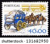 PORTUGAL - CIRCA 1978: a stamp printed in the Portugal shows Transportation, Work Tools, Old and New, circa 1978 - stock photo