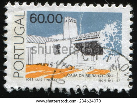 PORTUGAL - CIRCA 1987: postage stamp printed in the Portugal shows House on the coast by Jose Luis Tinocor, circa 1987