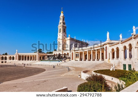 Portugal, City Fatima - Catholic pilgrimage center.  The magnificent cathedral complex and the Church - stock photo