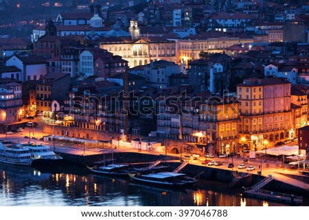 Portugal, city of Porto by night, medieval Old Town by Douro River