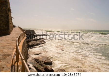 Portugal, Estoril near Lisbon, seaside town with beach and panorama view