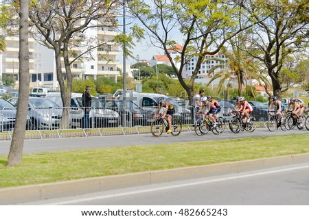 Portugal, Europe - APRIL 2 - 3, 2016: Algarve Quarteira ETU Triathlon European Cup, sunny outdoor background
