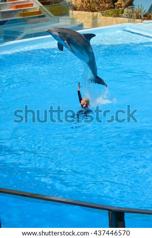 Portugal Europe - June 4, 2016: Beautiful dolphins show, Dolphinarium Zoomarine Theme Park Oceans of Fun - Water Theme Park