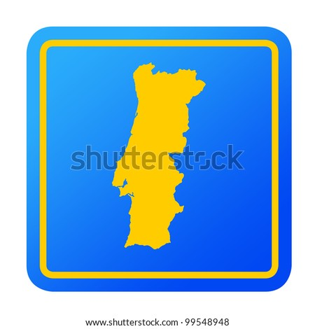 Portugal European button isolated on a white background with clipping path.