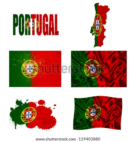 Portugal flag and map in different styles in different textures