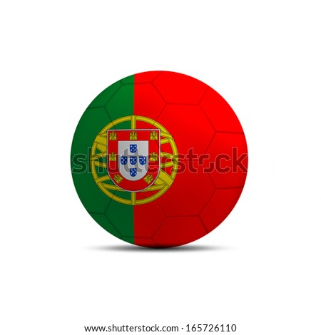 Portugal flag ball isolated on white background