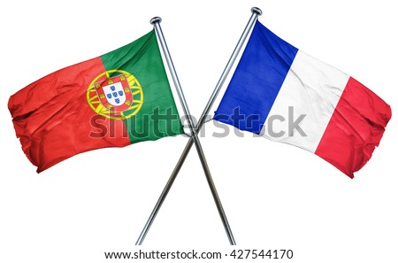 Portugal flag  combined with france flag - stock photo