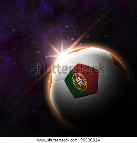Portugal flag on 3d football with rising sun illustration for Euro 2012 Group B - stock photo