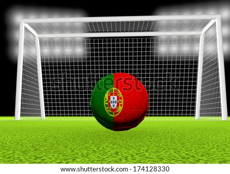 Portugal flag over soccer ball, in front of the net, 3d render