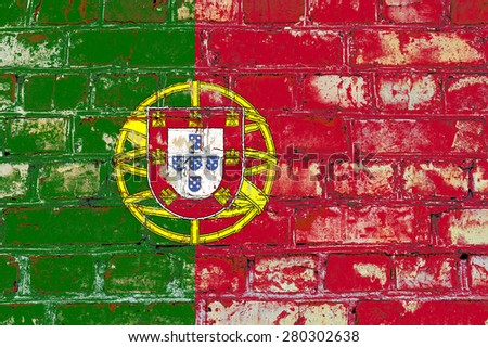 Portugal flag painted on old brick wall texture background - stock photo