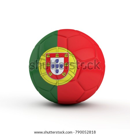 Portugal flag soccer football against a plain white background. 3D Rendering