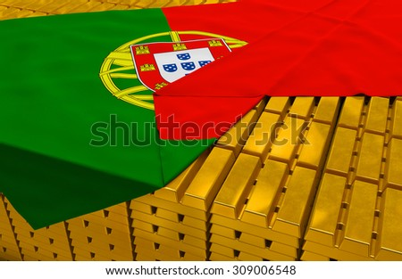 Portugal gold reserve stock: golden bars are covered with portuguese flag in the storage (treasury) as symbol of national gold and foreign currency reserves, financial health, economic growth - stock photo