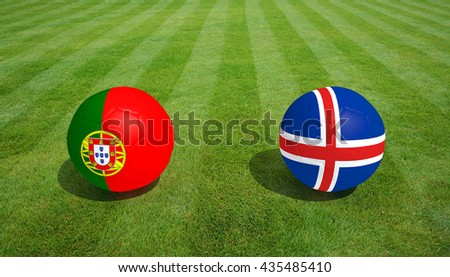 Portugal / Iceland soccer game on grass soccer field 3d Rendering.