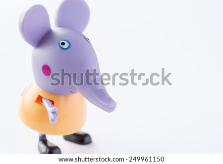 Portugal - January 10, 2015 : Figure of Edmond Elephant from Pig from Astley Baker Davies / Entertainment One UK animations, in my home studio, Braga - stock photo