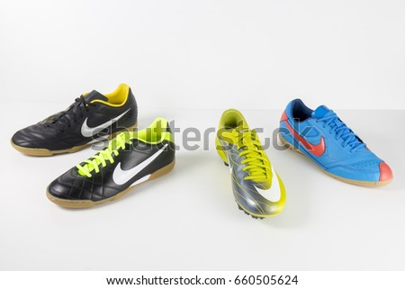 Portugal, June, 2017:Nike Sneaker Soccer. Nike, Multinational company. Isolated on White. Product shots.