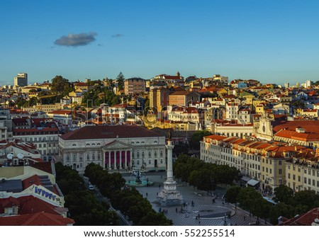 Portugal, Lisbon, Elevated view of the Pedro IV Square.