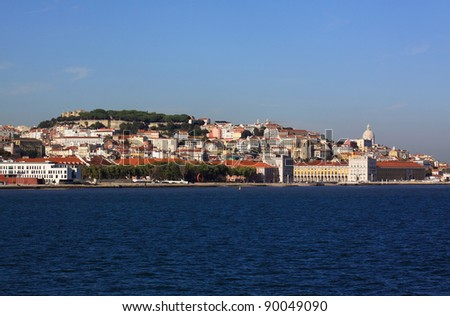 "Portugal Lisbon historical centre viewed from the Tagus ""Tejo"" River"