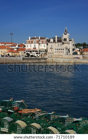 "Portugal Lisbon Sunshine Coast Cascais ""Bay of Cascais"" with fish traps in foreground"
