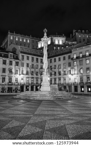 Portugal, Lisbon, Townhall Square monument by night - stock photo