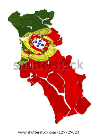 Portugal map cracked, conceptual representation of national crisis