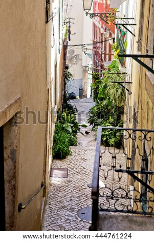 PORTUGAL  Old town of Lisbon, very popular among tourists in summer. - stock photo
