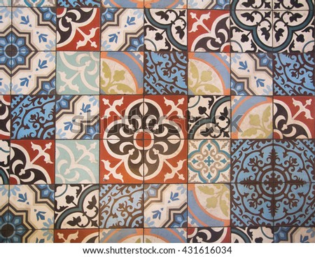 portugal ornamental colorful tiles wall - stock photo