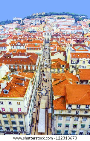 Portugal. Panorama of Lisbon from a viewing point of Santa Justa - stock photo
