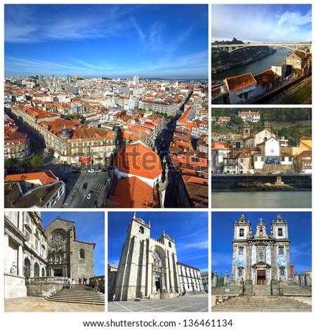 Portugal. Porto and Douro river. Churches in Porto - stock photo