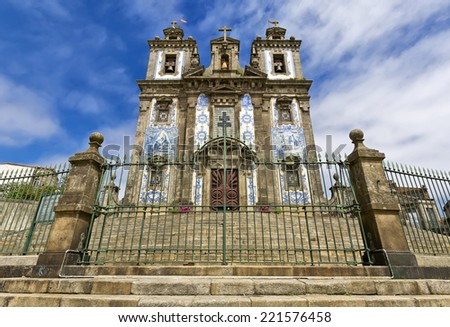 Portugal, Porto: Church of Santo Ildefonso was built during the 17th century; the facade with two towers is completely covered with the traditional ceramics tile , azulejos  - stock photo
