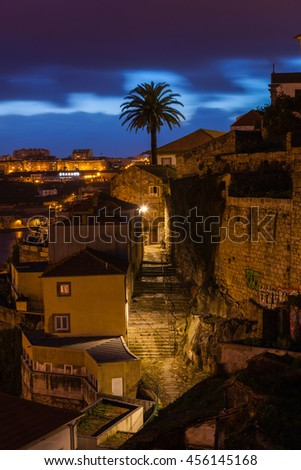 PORTUGAL, PORTO - JANUARY 20: Overview of Old Town of Porto, Portugal at night on January 20, 2013