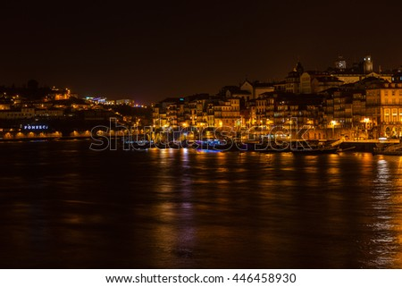 PORTUGAL, PORTO - JANUARY 20: Overview of Old Town of Porto, Portugal at night. Ribeira and Douro river on January 20, 2013