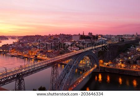 Portugal, Porto, Luis I Bridge on a sunset, the top view - stock photo