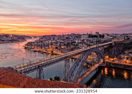 Portugal, Porto, Luis I Bridge on a sunset, the top view - stock photo