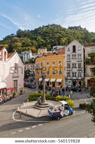 Portugal, Sintra - OCTOBER 18, 2016: The city center with views of the mountain on which the medieval fortress