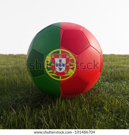 portugal soccer ball isolated on grass - stock photo
