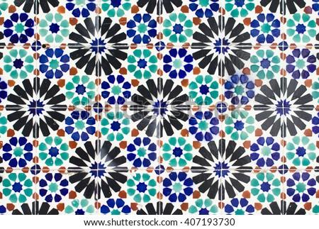 portugal tiles closeup - stock photo