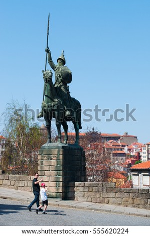 Portugal, 26/03/2012: view of the equestrian statue of Vimara Peres, a 19th century nobleman from the Kingdom of Asturias and the first ruler of the County of Portugal, in the Old City of Porto