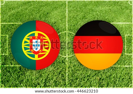 Portugal vs Germany icons at football field background - stock photo