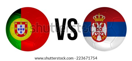 Portugal VS Serbia soccer ball concept isolated on white background - stock photo