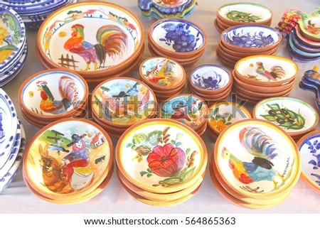 Portuguese ceramic pottery flea market Lisbon Portugal & Portuguese Ceramic Pottery Flea Market Lisbon Stock Photo (Download ...