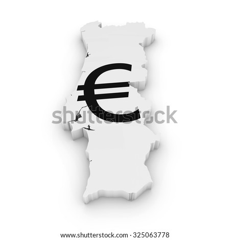 Portuguese Financial Concept Image - 3D Outline of Portugal Textured with Euro Symbol