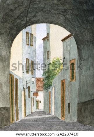 Portuguese Medieval Pedestrian Alley , Street Stairs And Archway Of Sto Antonio In Santarem, Watercolor Cityscape Painting. - stock photo