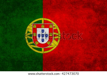 Portuguese national flag with a vintage textured treatment - stock photo