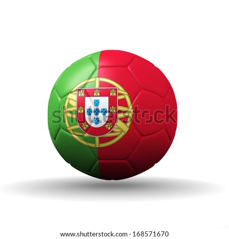 Portuguese Republic  flag textured on soccer ball , clipping path included