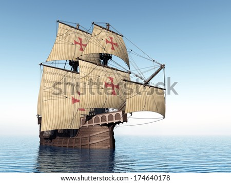 Portuguese Ship of the Fifteenth Century Computer generated 3D illustration - stock photo