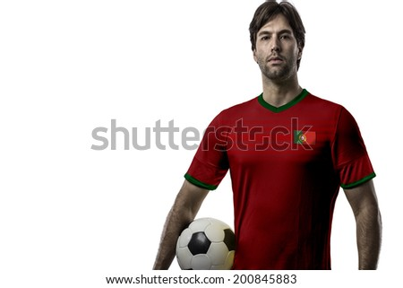 Portuguese soccer player, celebrating on a white background.