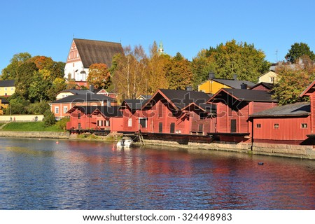 Porvoo, Finland. The old wooden houses in a  sunny autumn evening