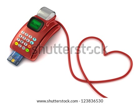 pos machine with heart symbol -valentine's day concept