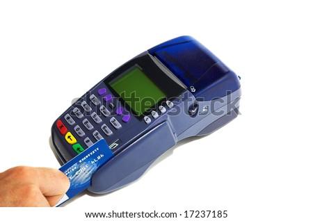 POS terminal and credit card processing - stock photo